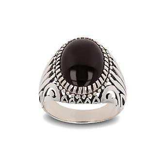 ADEN Antiikkiefekti 925 Sterling Silver Onyx Biker Ring (id 4846)