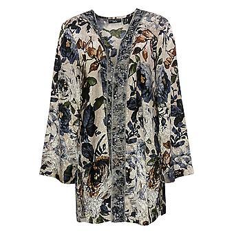 Susan Graver Women's Sweater Artisan Print Jacquard Woven Cardigan A387772