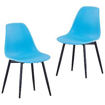vidaXL تناول الطعام الكراسي 2 PCS. الأزرق PP