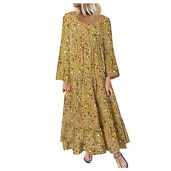 Floral Print Long Dresses, Women Casual Loose Maxi Dresses