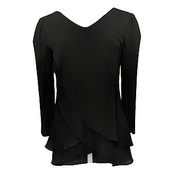 Laurie Felt Women's Top Reversible Blouse W/ Pleated Sleeve Black A391958