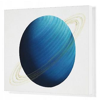 Planet uranus, sett forfra. Utskrift av bokslerret. Planet uranus, sett forfra.