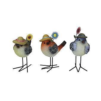 Set of 3 Resin and Metal Springtime Garden Flower Songbird Figurines