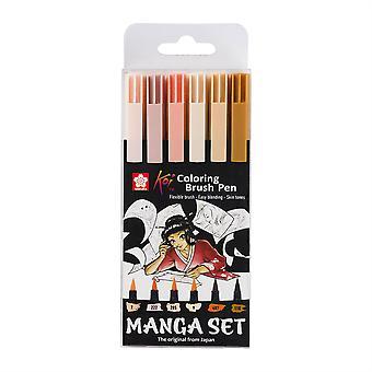 Sakura Koi Coloring Brush Pen Manga Set of 6