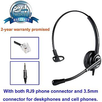FengChun Telefon Headset mit Noise Cancelling Mikrofon bro CallCenter Kopfhrer mit RJ11 und 3.5mm