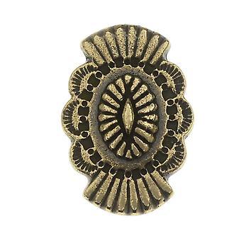 TierraCast Pewter Button, Oval med Southwestern Design 20x13.5mm, 1 piece, messingoxid