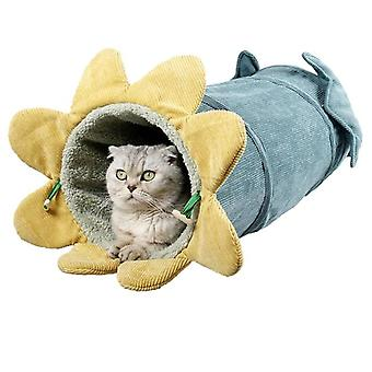 25*56cm Big Long Cats Tunnel Toys Pure Color Suede Material Kitten Foldable Pet Cat Tunnel(yellow)