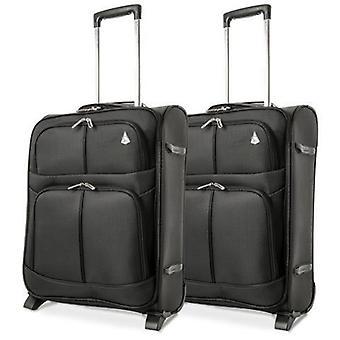 Aerolite (55x40x20cm) à (55x40x23cm) bagages à main légers cabine (x2 ensemble) 2 roues