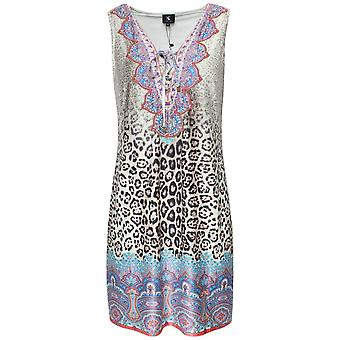 K-design Sleeveless V Neck Leopard Print Dress