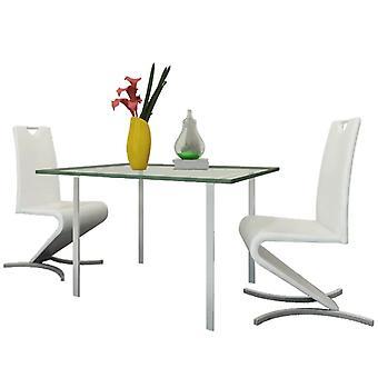 vidaXL sillas de comedor 2 piezas de cuero blanco