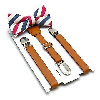 British Style Suspenders With Bow Tie Leather