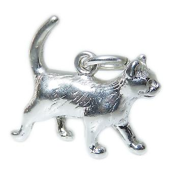 Pussy Cat Sterling Silver Charm .925 X 1 Cats And Kittens Charms - 15396