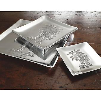 Square Silver Palm Tree Plate