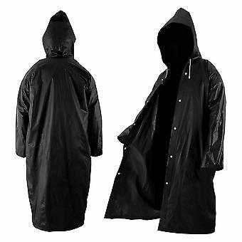 Svart mode vuxen vattentät lång regnrock kvinnor män regnrock huva för utomhus vandring resor
