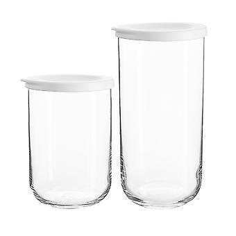 4 piezas Duo Glass Storage Jars Set Contenedor apilable con tapa 2 tamaños Blanco