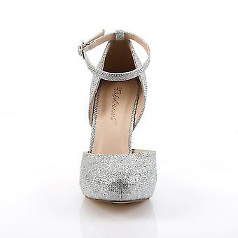 Fabulicious Frauen's Schuhe COVET-03 Slv Glitter Mesh Stoff