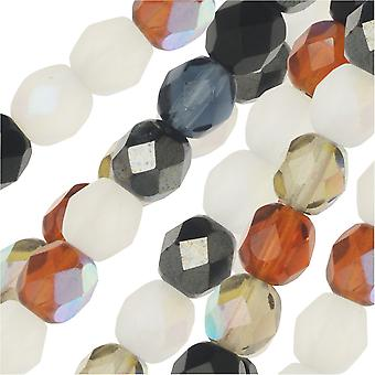 Czech Fire Polished Glass Beads, Faceted Round 6mm, 50 Pieces, Pebblestone Mix