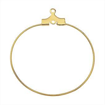 إطار سلك مفتوح قابل للخرز للأقراط أو المعلقات ، هوب 35 مم ، 6 أزواج ، مطلي بالذهب