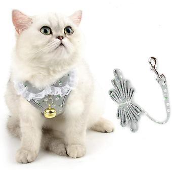 Imbracatura per cani / Imbracatura per gatti con motivo floreale e ping Grey Size S