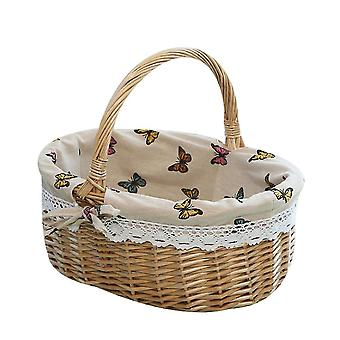 Picnic Basket Natural Woven Woodchip With Double Folding Handles  Basket(Color4)