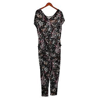 Cuddl Duds Women's Jumpsuits Petite Short Sleeve Black A373488
