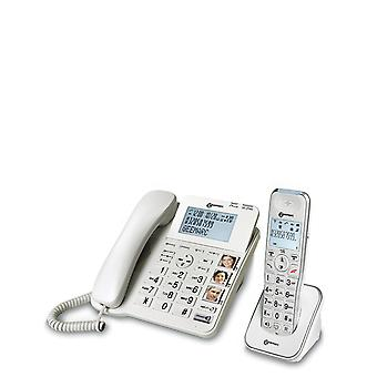 Geemarc Telecom Geemarc AMPLIDECT COMBI 295- Amplified Double Corded and Cordless Telephone with Answering Machine, CALLER ID and Extra Large Buttons- White Color- UK Version