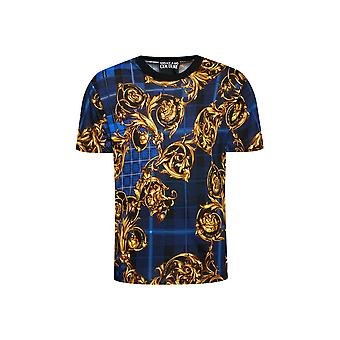 Versace Jeans Couture Floral Print Navy/gold T-shirt