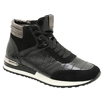 Remonte Black Lace Up Multi Textured High Top Trainer With Side Zip