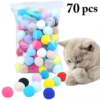 70pcs Cute Funny Cat Toys Stretch Plush Ball 0.98in Cat Toy Ball