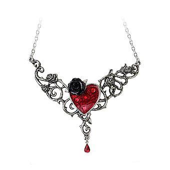 Alchemy Gothic blod Rose hjärta hängsmycke halsband