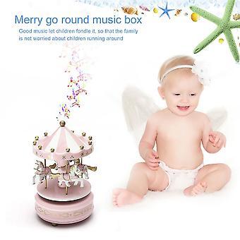 Manège en bois Carrousel Boîte à musique Enfants Jouets Cadeau Boîte à musique Enroule
