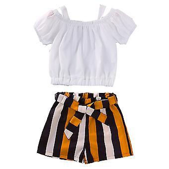 Kids Girls rövid ujjú felső csíkos rövidnadrág set ruhák nyári felszerelés