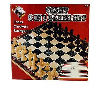 Giant 3 in 1 Games Set Schaken Dammen Backgammon