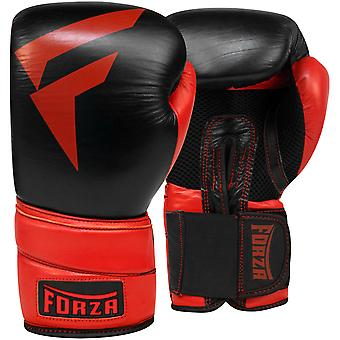 Forza Sports Pro Leather Boxing Gloves - Black/Red