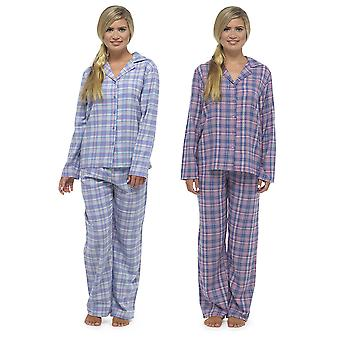 Ladies Tom Franks Yarn Dyed Traditional Plaid Check Long Pyjama Sleepwear Set
