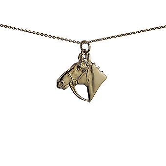 9ct Gold 23x20mm Horse Head Pendant with a cable Chain 20 inches