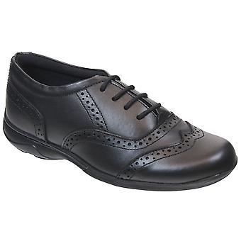 Term Girls Eleanor Lace School Shoes Black