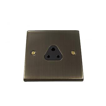 Causeway 1 Gang 2A Round Pin Socket, Antique Brass