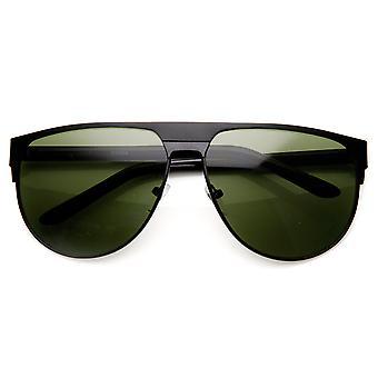 Moda moderna grande Metal marco gafas de sol de aviador tapa plana
