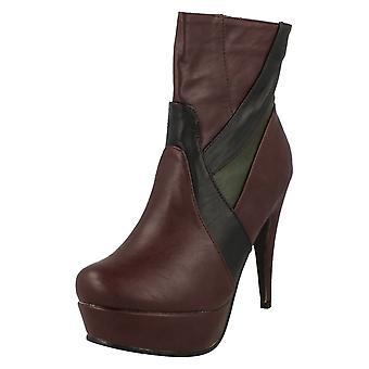 L8629 Nero tacco alto donna Stivali alla caviglia interna con cerniera e