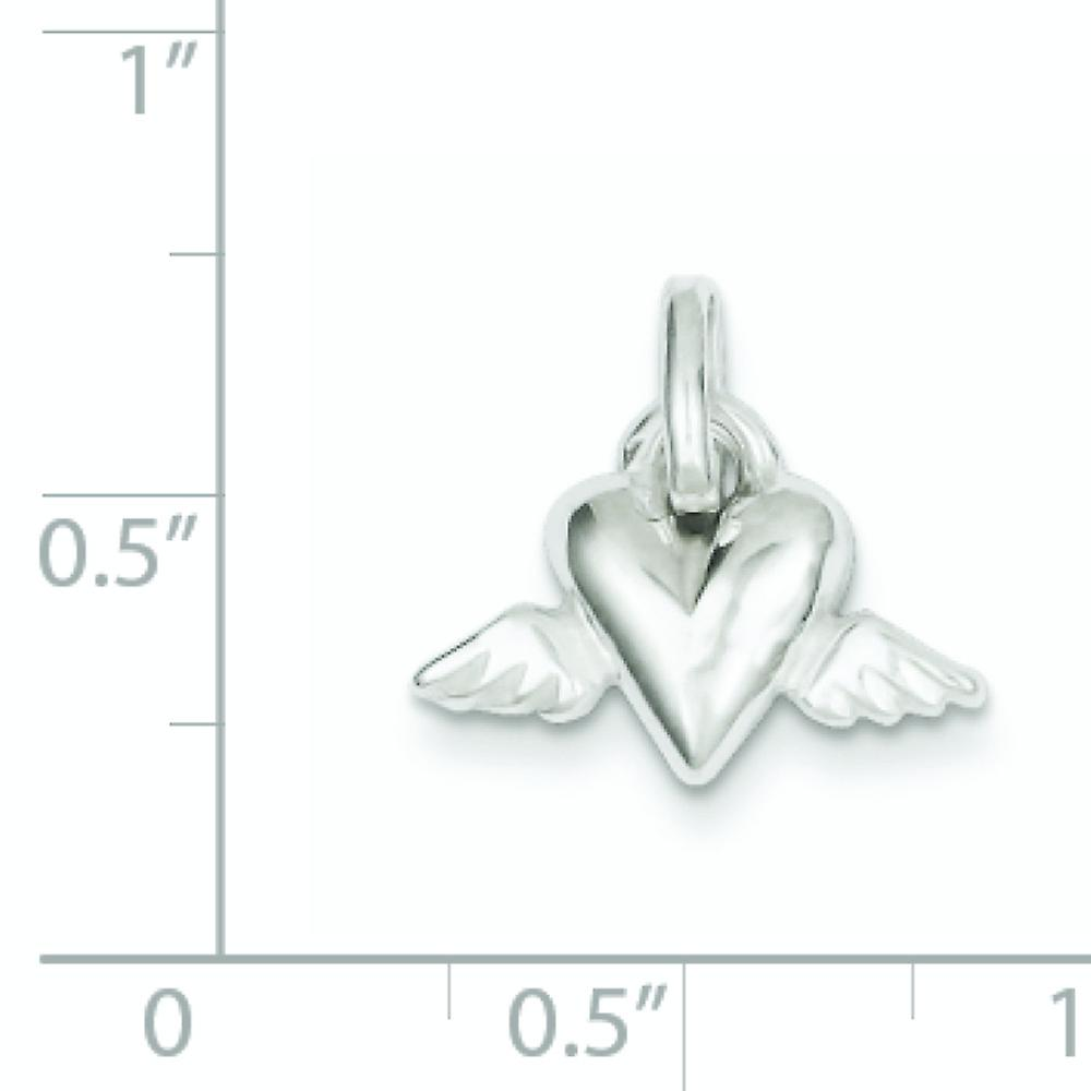 925 Sterling Silver Solid Polished Open back Love Heart With Angel Wings Charm Pendant Necklace Jewelry Gifts for Women