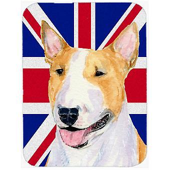 Bullterrier med engelska Union Jack brittiska flaggan glas skära styrelsen stor storlek