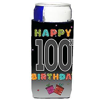 Happy 100th Birthday Ultra Beverage Insulators for slim cans