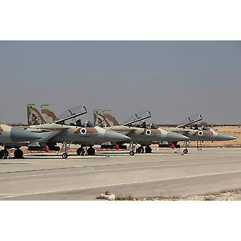 A line of F-15I Raam of the Israeli Air Force at Hatzerim Air Force Base Poster Print by Ofer ZidonStocktrek Images
