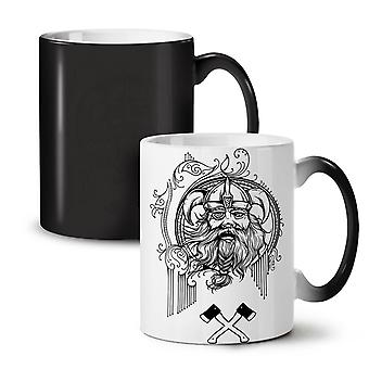 North Viking Warrior NEW Black Colour Changing Tea Coffee Ceramic Becher 11 oz | Wellcoda