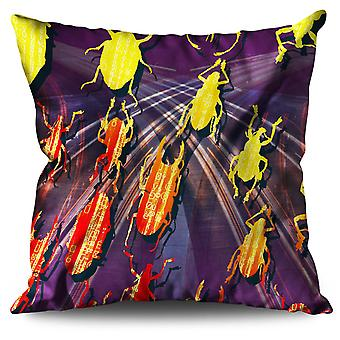 Colored Bugs Linen Cushion 30cm x 30cm | Wellcoda