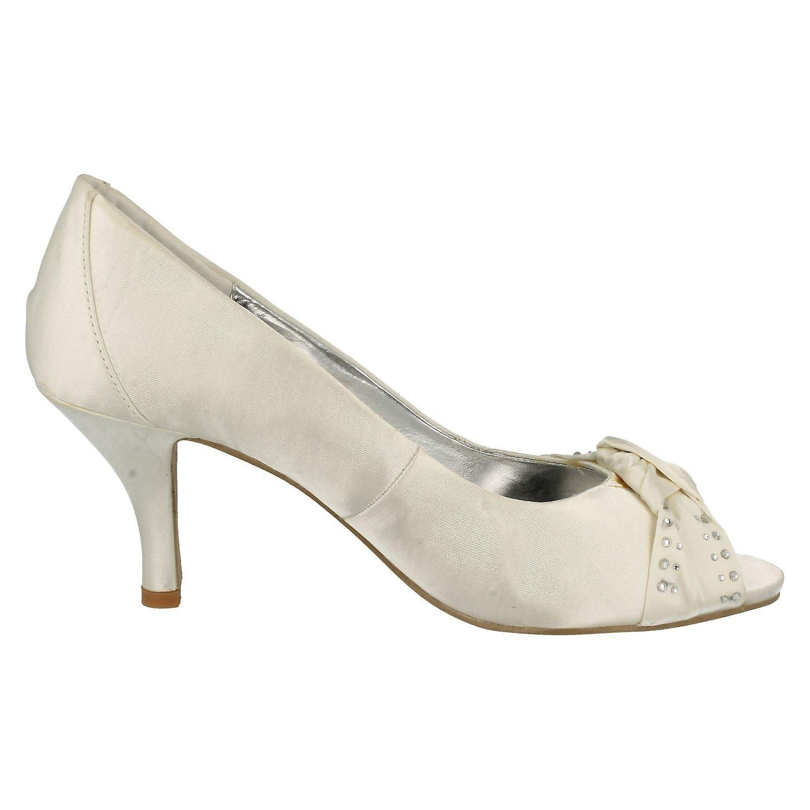 Ladies Spot On Open Toe Court Shoe With Diamante Bow Detail