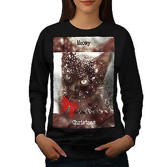 Cat Cute Kitty Women BlackSweatshirt | Wellcoda