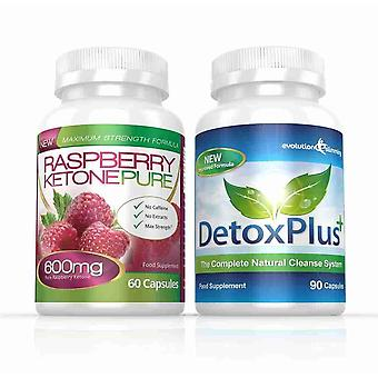 Raspberry Ketone Pure 600 mg en DetoxPlus reinigen Combo Pack - 1 maand Supply - vetverbrander en Colon Cleanse - evolutie vermagering