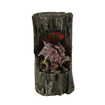 Dragon Holding Orb In Old Log Statue with Color Changing LED Lights